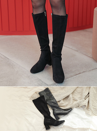 Slim Line Middle Block Heels High Long Boots