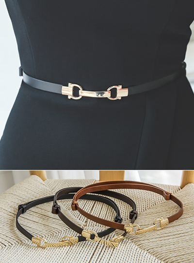 Cowhide Double Gold Ring Belt