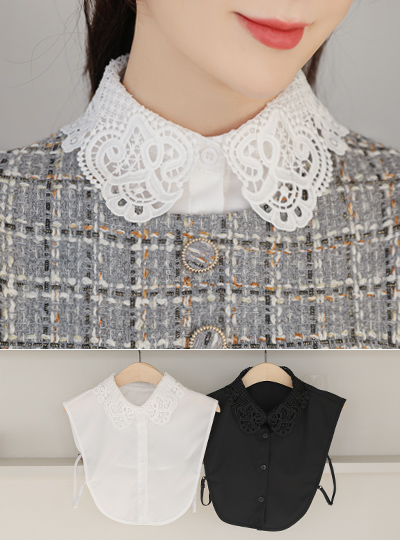 Flower Punching Embroidery Fake Collar