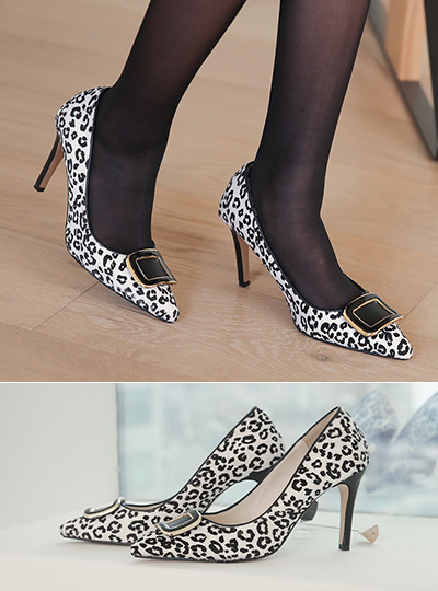 Leopard Enamel Buckle Calf Stiletto Heels