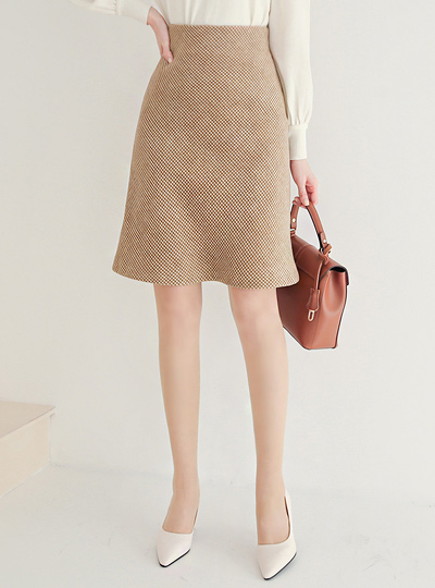 Hound's-Tooth Check Wool Bell line Skirt