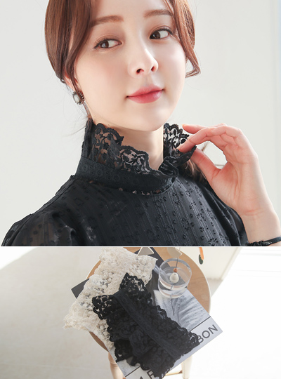 See-through Flower Lace High-Neck Collar