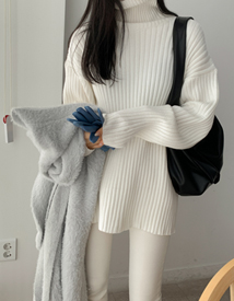 High-neck pola knit