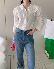 Poplin frill blouse