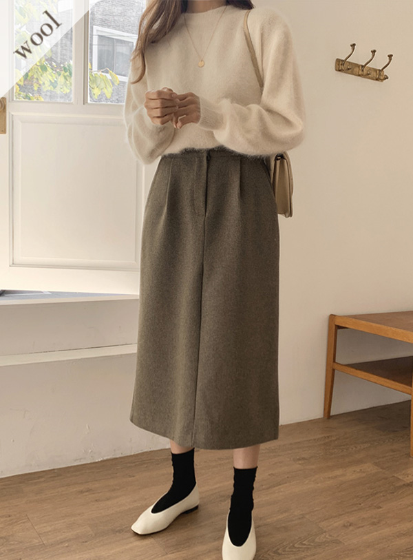 [Wool wool 50] Dual Pin Tuck sk (*2color) Khaki