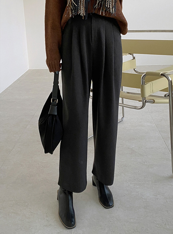 [Raised material] Leader's pintuck pants (*2color) Charcoal