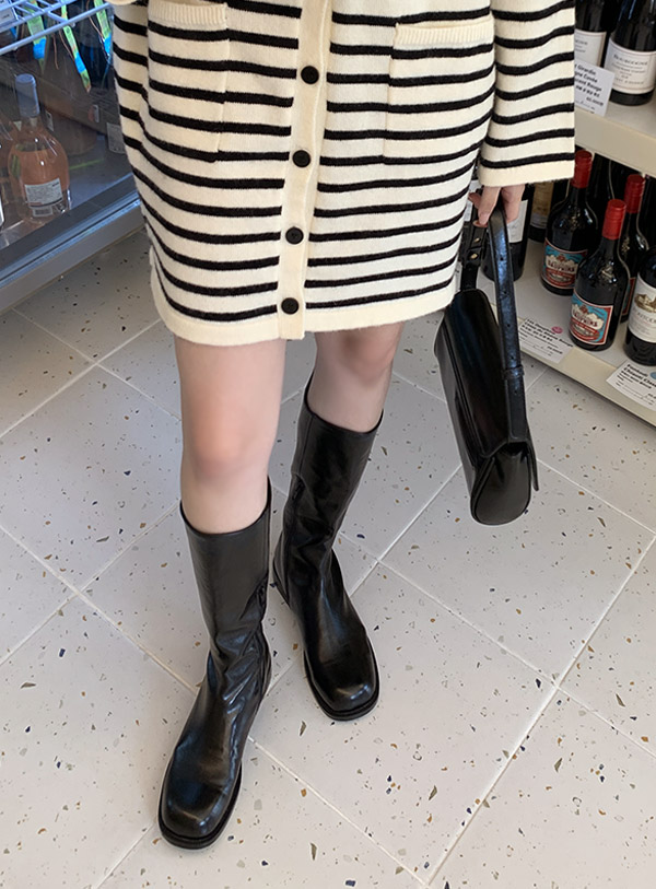 Leather Middle Boots (*2color)