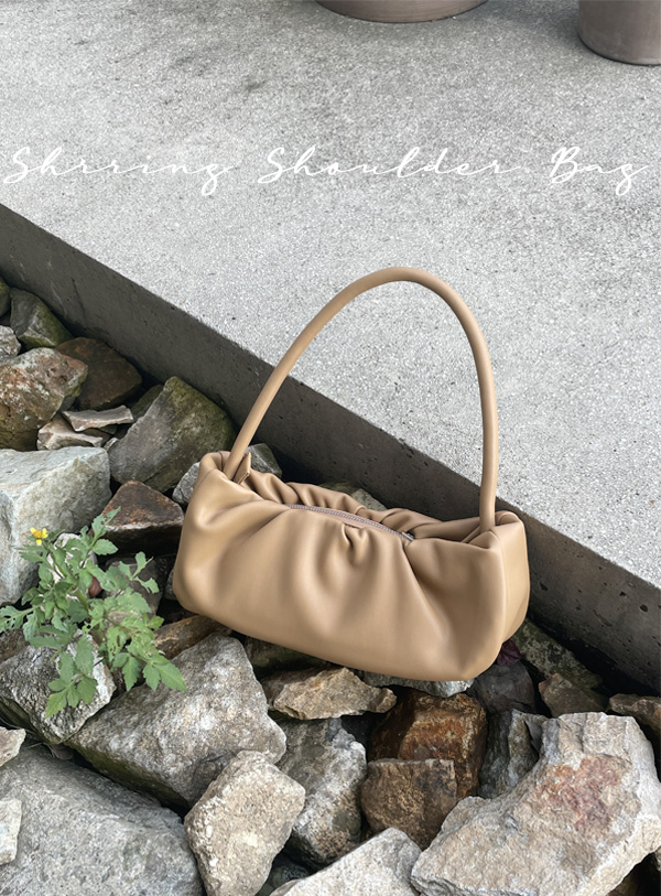 Shirring Baguette Shoulder Bag (*3color)