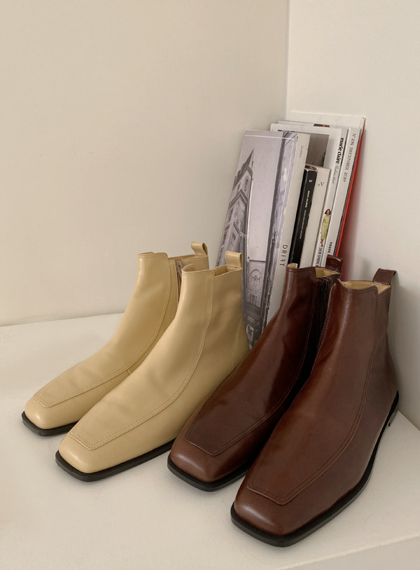 [Cowhide Hand made shoes] Autumn square ankle boots (*2color)