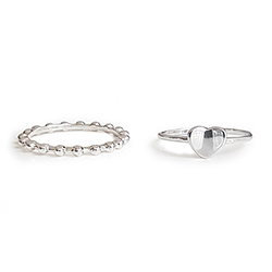 [SILVER925]简单的心形分层戒指