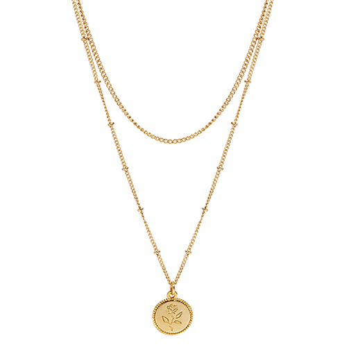Rose Coin Layered Necklace