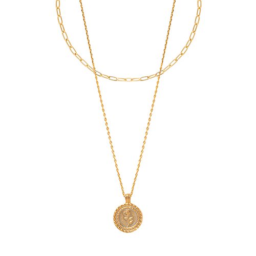 (2set) Rose coin&Chain Nacklace