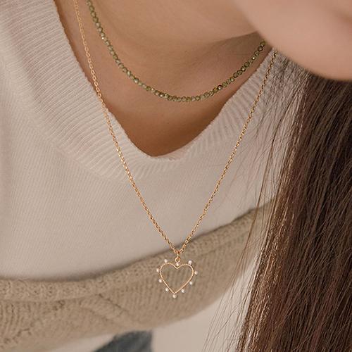 (2set) Heart Signal Necklace