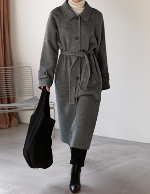 Handmade herringbone long coat