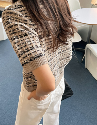 Tweed Knit Half Top