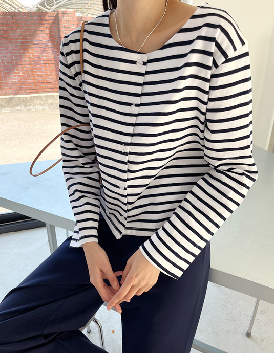 Stripe Cardigan Top