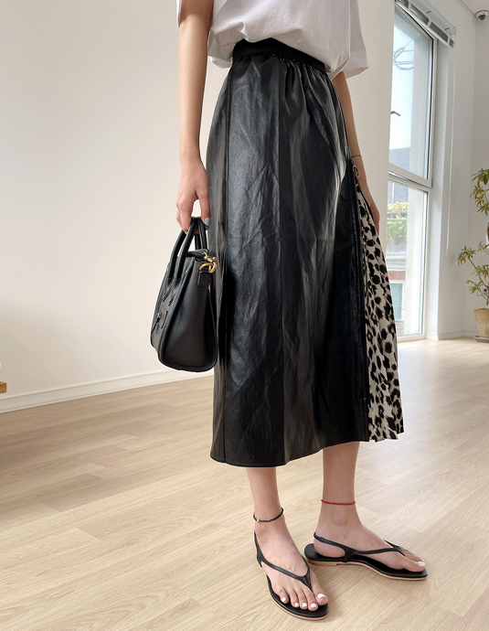Leopard Coloring Leather Skirt