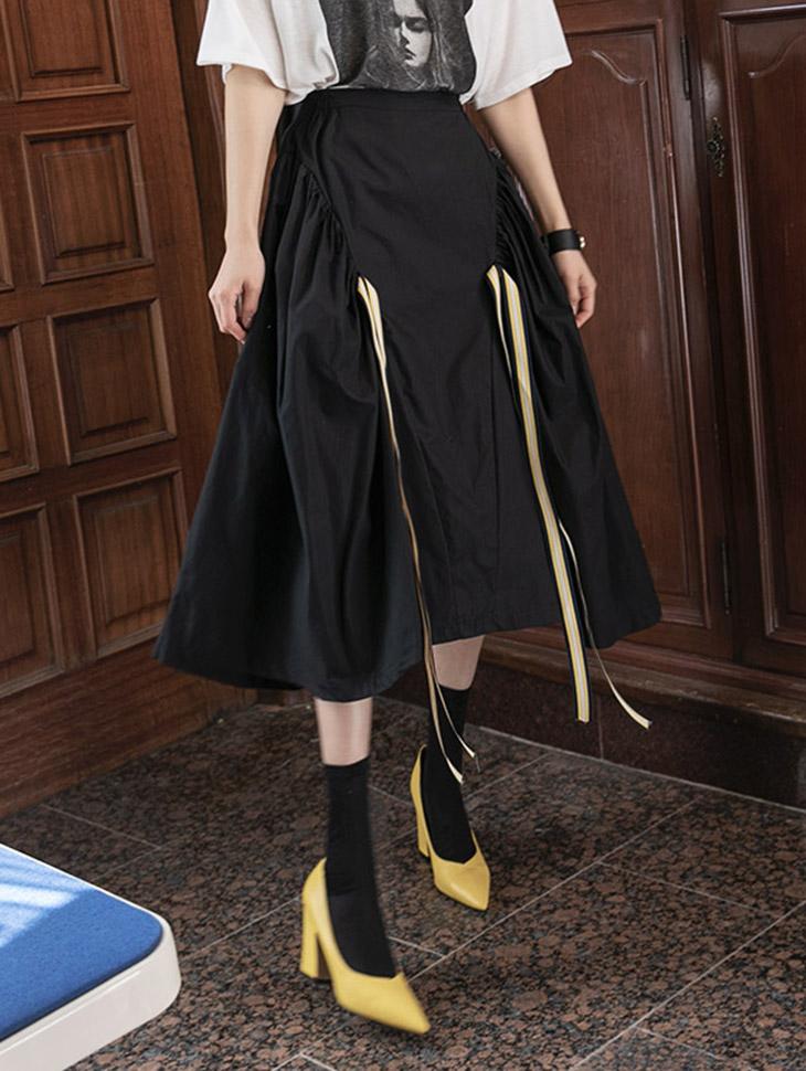 SK2026 ストリング配色ツーポケットスカート(6th REORDER)韓国