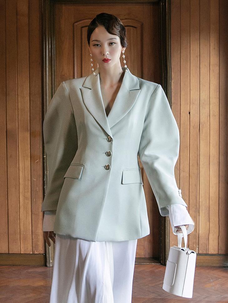 J1061 スリーボタンパフパッドジャケット韓国