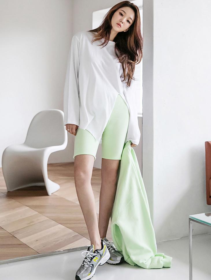 E2399 ディップスリットラウンドネックTシャツ(3rd REORDER)韓国