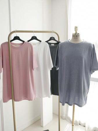 E2403 ラウンドベーシックロングTシャツ韓国