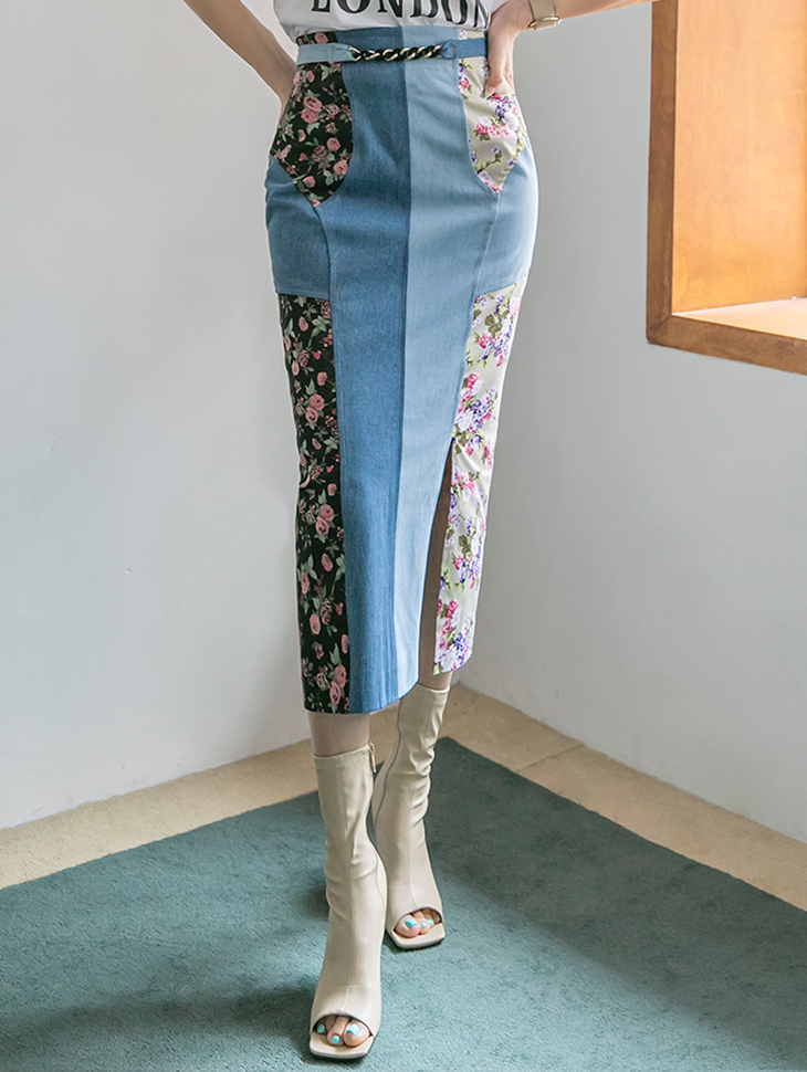 SK2159 スリムフラワー配色デニムロングスカート(ベルトセット)(3rd REORDER)韓国