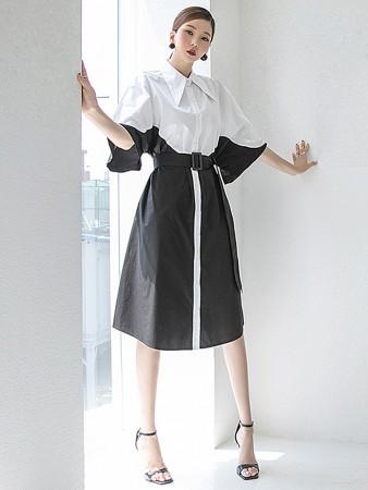 D4285 配色ラグランパフシャツミディアムワンピース(ベルトセット)韓国