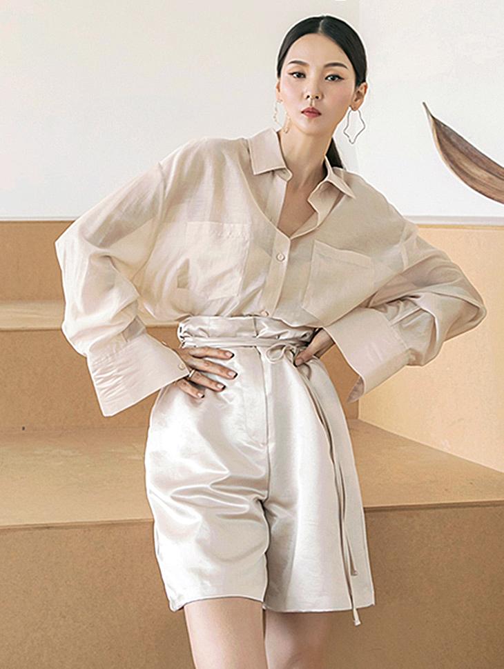 S431 ベーシックシースルーオーバーフィットクロップシャツ韓国