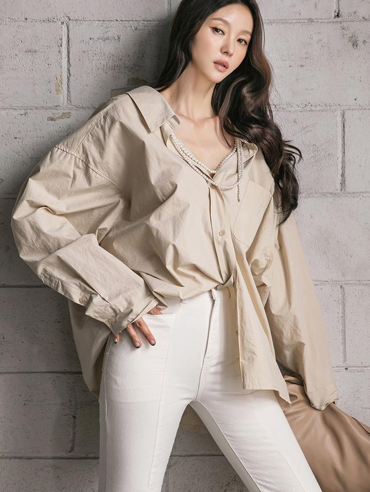 S433 真珠ポイントオーバーフィットシャツ(ネックレスセット)韓国