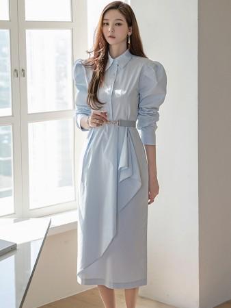 D4215 パフ袖レイヤードシャツミディワンピース(ベルトSET)(18th REORDER)韓国