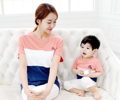 トリニティ円形の母親と赤ちゃんショートTシャツ_15B04
