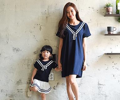 ツーウェイファミリーのお母さんと赤ちゃんのショートTシャツ_16B24