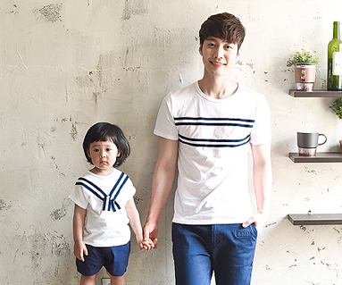 ツーウェイファミリーパパと赤ちゃんショートTシャツ_16B24