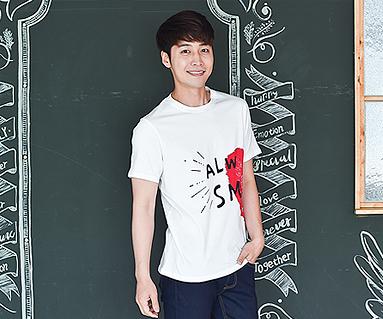 """カップルハート男性ショートTシャツ_16B21<font color=""""#FF6666""""><strong>[注文可能]</strong>"""