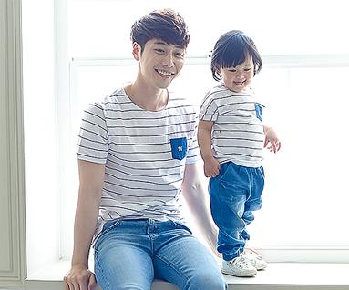 子供ブルー家族パパと赤ちゃんショートTシャツ_16B05