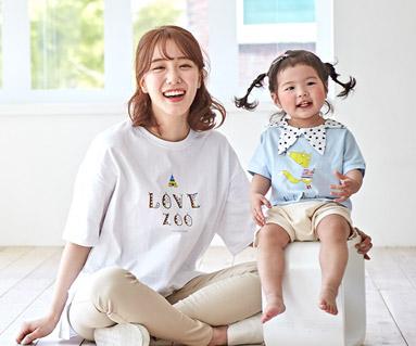 "<font color=""ffffff"">[家族ショートTシャツティー&ファミリールック] <br></font>キャンピングフォックスラグランママと赤ちゃんショートTシャツ_19B01"