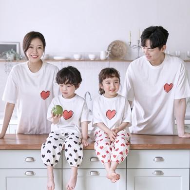 マイハートショートTシャツ家族21B09 /家族ルック、家族の写真の衣装