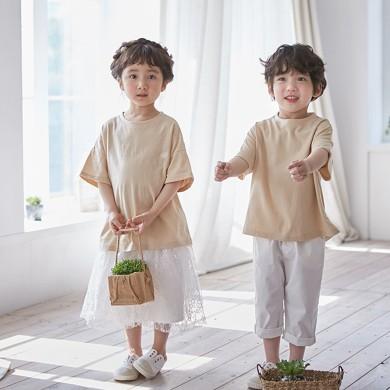 ベーグルショートTシャツ子供21B03K /ファミリールック、家族の写真の衣装