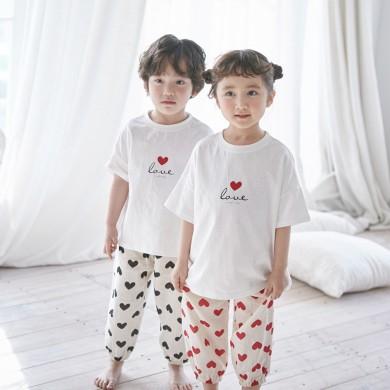 愛パンパンショートTシャツ子供21B05K /ファミリールック、家族の写真の衣装