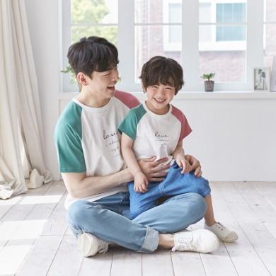 配色ラブショートTシャツパパと赤ちゃん21B02MK /ファミリールック、家族の写真の衣装