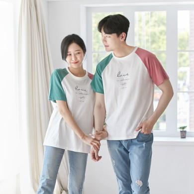 配色ラブショートTシャツ男女共用21B02A /ファミリールック、家族の写真の衣装