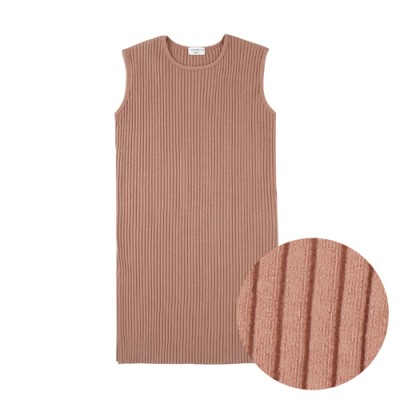 COMFORTABLE FIT RIBBED SIMPLE DRESS: CORAL
