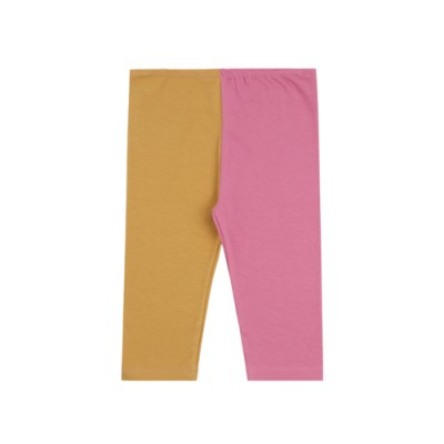 Part 7 Half and Half Leggings: Yellow Ocher & Pink