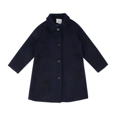 CLASSIC COLLAR WOOL COAT: DARK NAVY