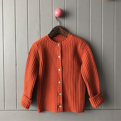 [Wool 80%] LAMBSWOOL CARDIGAN: ORANGE