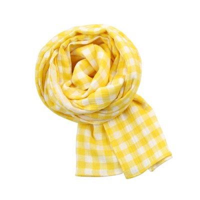 GINGHAM CHECK SCARF: YELLOW