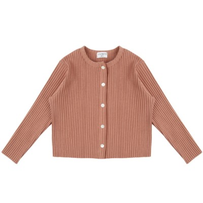 COMFORTABLE FIT RIBBED CARDIGAN: CORAL