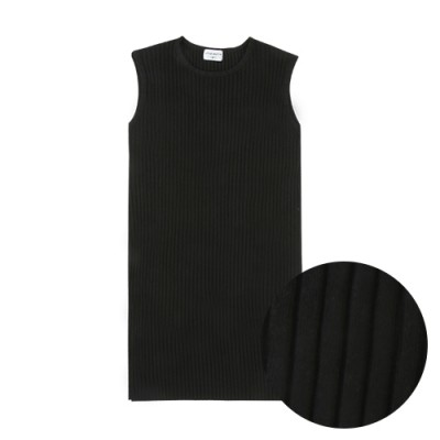COMFORTABLE FIT RIBBED SIMPLE DRESS: BLACK