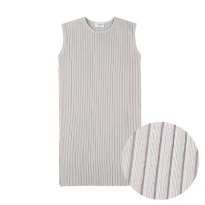 COMFORTABLE FIT RIBBED SIMPLE DRESS: LIGHT GRAY