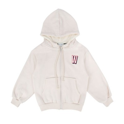 WARM HOODY ZIP UP: IVORY